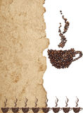Coffee beans on old parchment paper Stock Photography