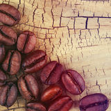 Coffee Beans on Old Wood Stock Photography