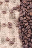 Coffee Beans On Jute Stock Photography