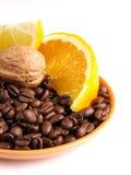 Coffee Beans Oranges, Lemon Stock Photo