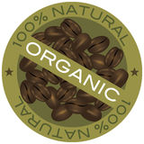 Coffee Beans Organic Label Illustration. Coffee Beans 100% Natural Organic Label Illustration Isolated on White Background Royalty Free Stock Photos