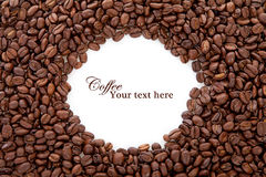 Coffee beans over white with text space Stock Photography