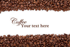 Coffee beans over white with text space Stock Photo