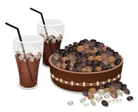 Coffee Beans in A Pail with Iced Coffee Royalty Free Stock Photography