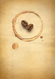 Coffee beans on paper Stock Photo