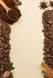Coffee beans and parchment Royalty Free Stock Images