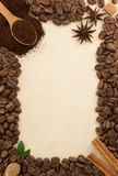 Coffee beans and parchment Stock Photography