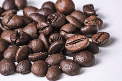 Coffee beans. This photo shows a closeup of some coffee beans on a white background Stock Images