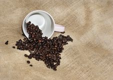 Coffee beans and a  pink  fallen cup on rustic background with c Royalty Free Stock Photo