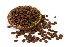 Coffee beans on plate Stock Photography