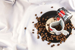 Coffee beans on plate. Cap Stock Photo