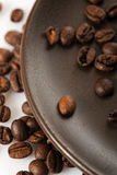 Coffee beans on a plate Royalty Free Stock Photography
