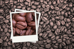 Coffee beans polaroid Stock Photography