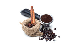 Coffee beans and Portafilter Coffee Handle Royalty Free Stock Photography