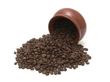 Coffee beans in pot Stock Image