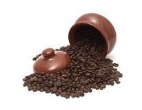 Coffee beans in pot Stock Photography