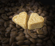 Coffee Beans, Pots, Cinnamon on Dark Background Royalty Free Stock Photos