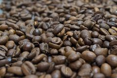 Coffee Beans, Pots, Cinnamon On Dark Background Stock Photos