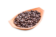 Coffee beans in pottery bowl on white Stock Photos