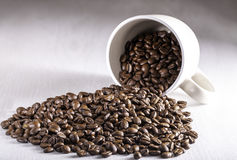 Coffee Beans Pouring Out of Cup. Cup on table filled with coffee beans pouring out onto the table top Royalty Free Stock Photos