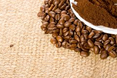 Coffee beans and powder Stock Image