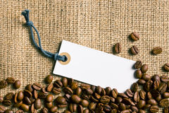 Coffee beans and price tag Royalty Free Stock Photo