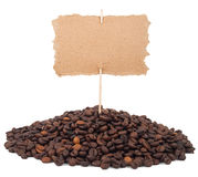 Coffee beans and price tag Royalty Free Stock Image