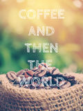 Coffee beans and quotes Stock Photos