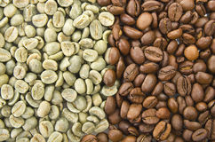 Coffee beans raw and toasted Royalty Free Stock Photos