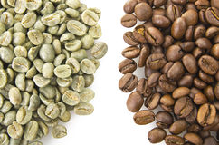 Coffee beans raw and toasted Stock Photo