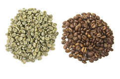 Coffee beans raw and toasted Royalty Free Stock Photography