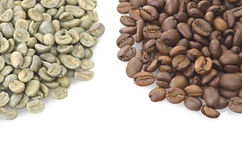 Coffee beans raw and toasted Stock Images
