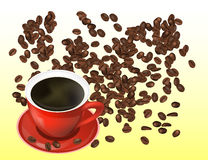 Coffee Beans and Red Cofee Cup Isolated in White Background. Vector Illustration. Eps10 Stock Photo