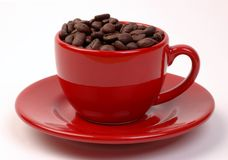 Coffee Beans in Red Cup. Coffee beans in a red cup and saucer on a white background Stock Photo