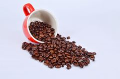 Coffee beans and red cup Stock Image