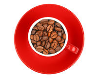 Coffee beans in red espresso cup isolated on white Stock Images