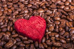 Coffee beans and red heart. An image of coffee beans and red heart Stock Image