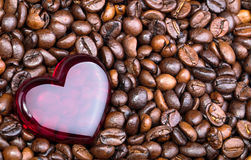Coffee beans and red heart with copy space Stock Image