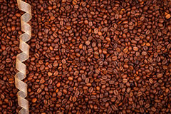 Coffee beans and ribbon Stock Image