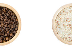 Coffee beans and rice in a bowl on white background Stock Photos