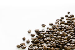 Coffee beans on right corner of white background, Coffee, Aroma, Royalty Free Stock Image