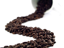 Coffee Beans River Spill 1 Royalty Free Stock Image