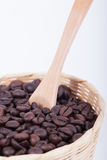 Coffee beans. Roasted in bamboo baskets Royalty Free Stock Photo