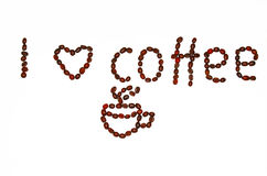 COFFEE BEANS. Roasted coffee beans. I love coffee Royalty Free Stock Photo