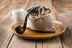 Coffee beans roasted in jute sack Royalty Free Stock Photography