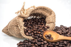 Coffee beans roasted in jute sack Stock Images