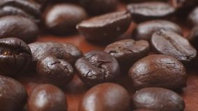 Coffee beans while roasting. Hot coffee beans while roasting stock footage