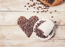 Coffee beans.  romance. Food. Coffee beans. Selective focus.  Food Royalty Free Stock Photo