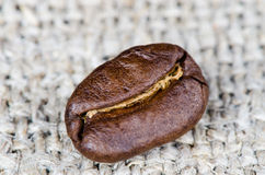 Coffee beans on a rough cloth Stock Photo