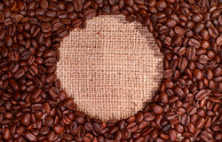 Coffee beans with round circular copy space Royalty Free Stock Photo